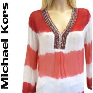 Michael Kors Beaded Tunic / Blouse - Size 10P